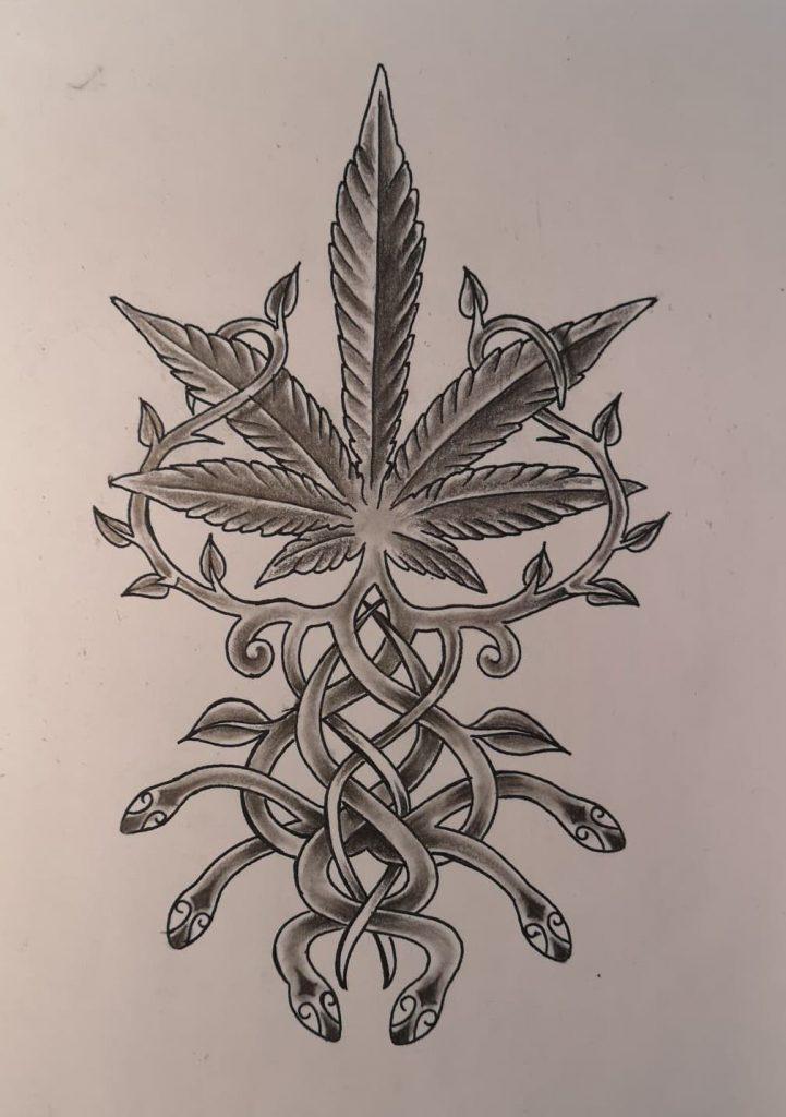 Hand drawn cannabis logo